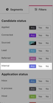 Filter internal candidates