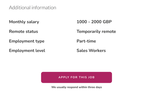 Additional information in job ad